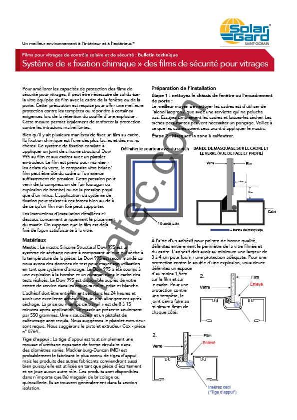 Filmatec bulletin technique systeme de fixation chimique pprt solar gard